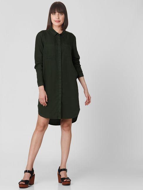 Dark Green Shirt Dress