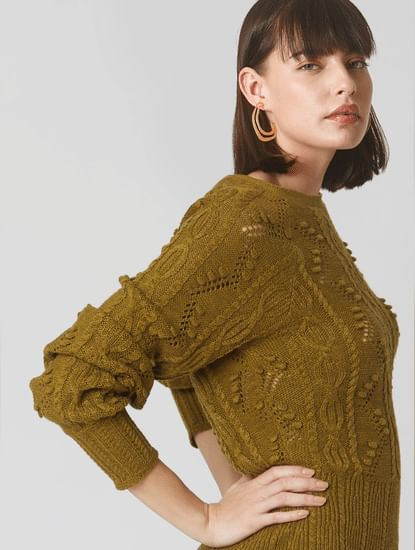 Dark Green Self-Design Sweater