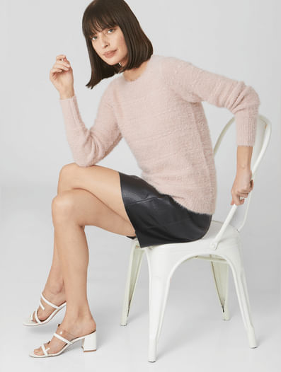 Pink Fuzzy Self-Design Sweater