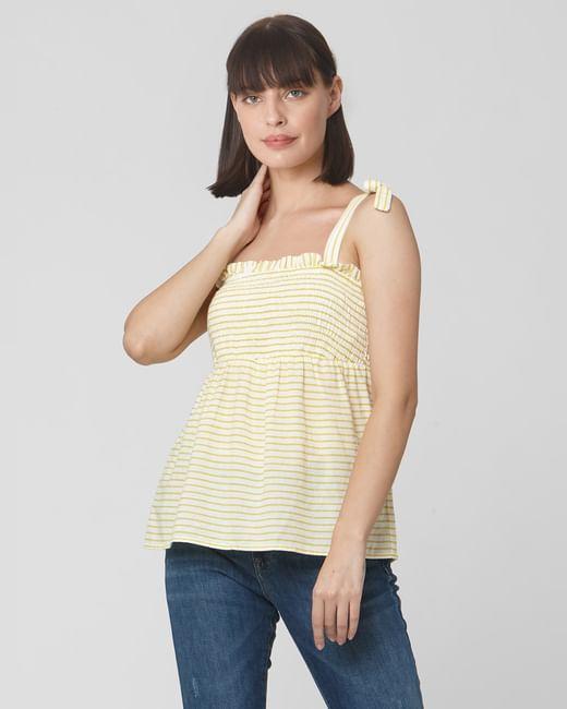 White Yellow Striped Top
