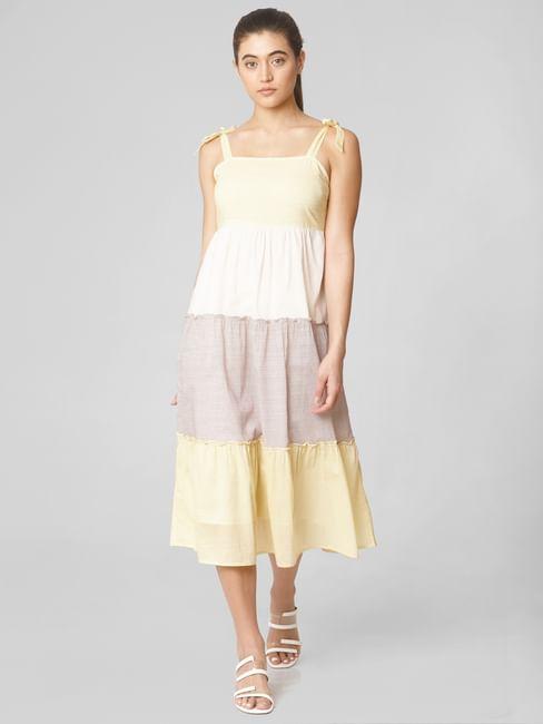 White Colourblocked Midi Dress