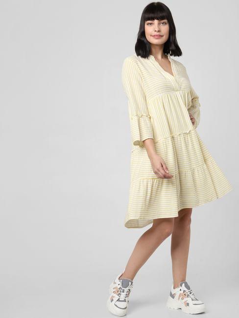 Yellow Striped Tiered Shift Dress