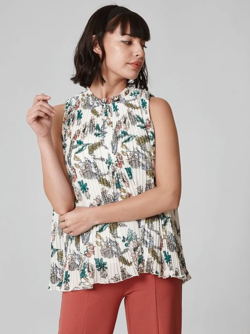 White Floral Print Pleated Top