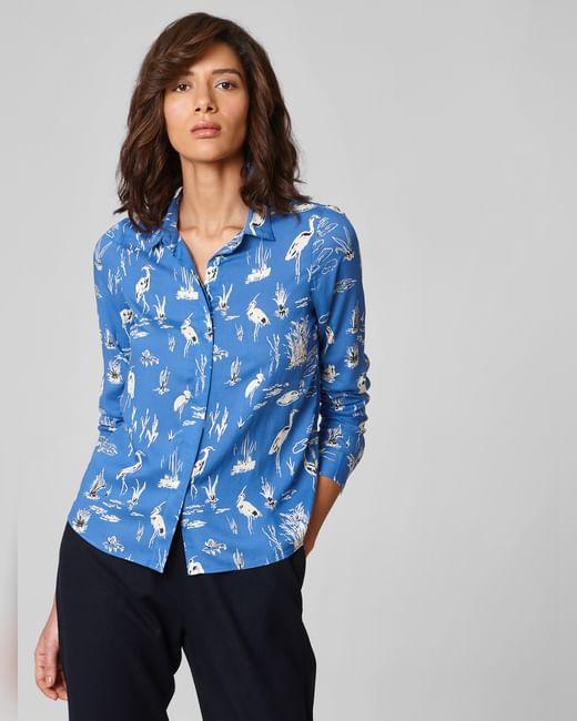 Blue All Over Print Shirt
