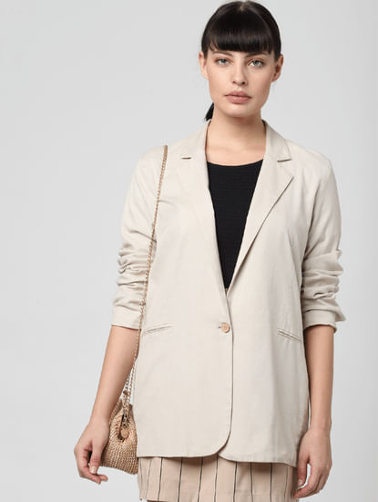 Beige Single Button Blazer