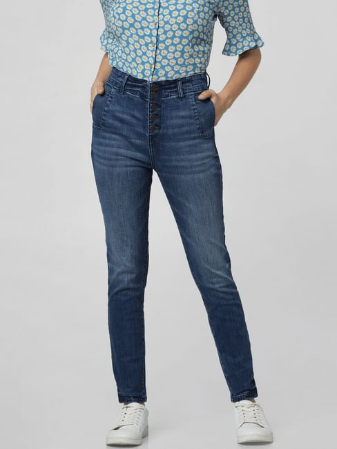 Blue High Rise Skinny Fit Jeans