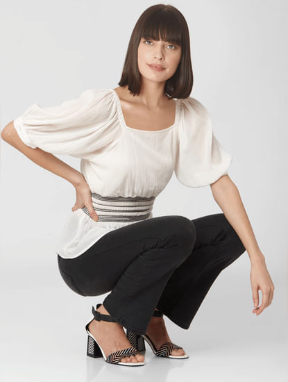Off-white Peplum Smock Top