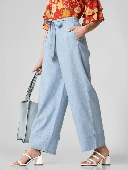 Blue High Rise Wide Leg Pants