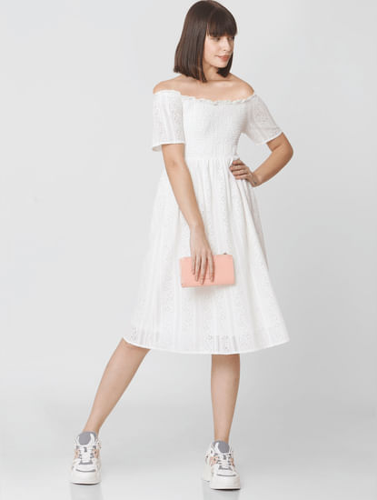 White Off-Shoulder Lace Dress