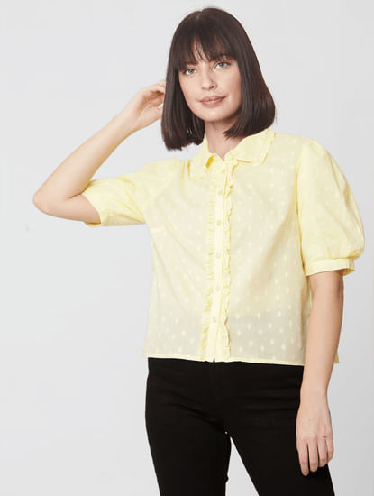 Yellow Textured Boxy Shirt