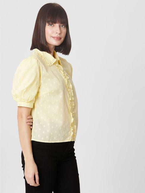Yellow Textured Boxy Shirt