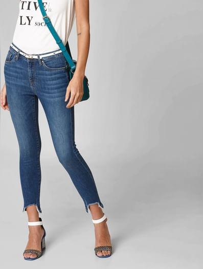 Blue Mid Rise Distressed Hem Skinny Jeans