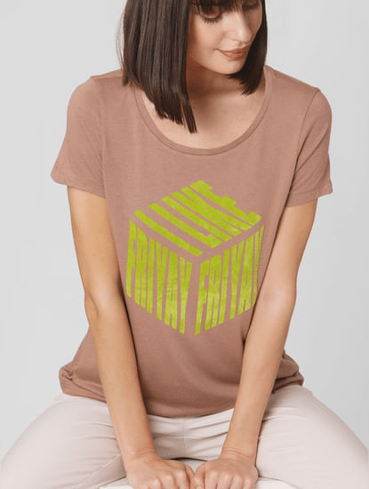 Brown Typographic Print T-shirt