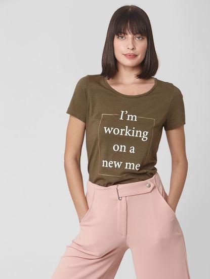 Olive Slogan Print T-shirt