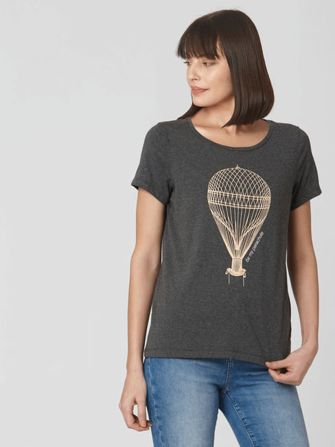 Dark Grey Graphic Print T-shirt