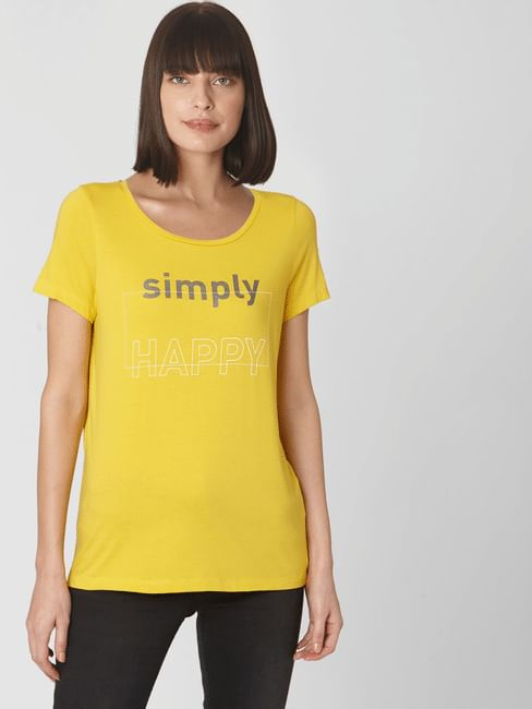 Yellow Text Print T-shirt