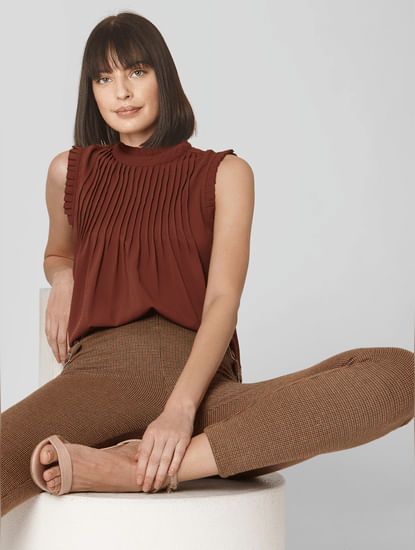 Brown Pleated Top