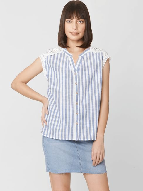 Blue Striped Lace Top