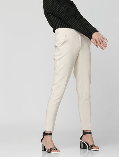 Beige Mid Rise Tailored Trousers