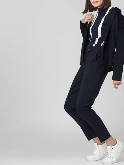 Navy Blue Mid Rise Tailored Trousers