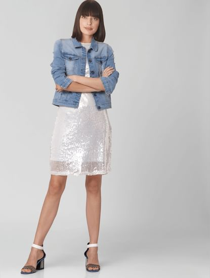 White Sequined Shift Dress