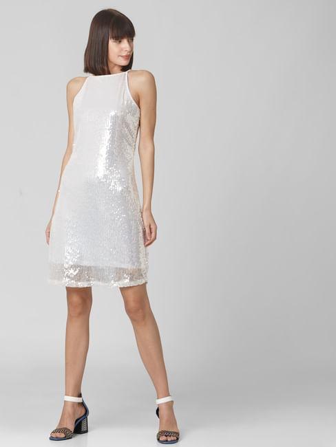 White Sequined Shift Dress
