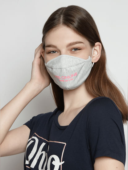 Pack of 2 Quote Print Knit 3PLY Anti-Bacterial Mask