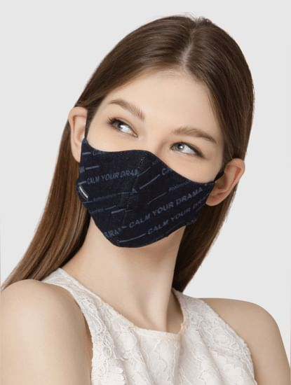 Pack of 2 Lightweight Denim 3PLY Anti-Bacterial Mask - Blue
