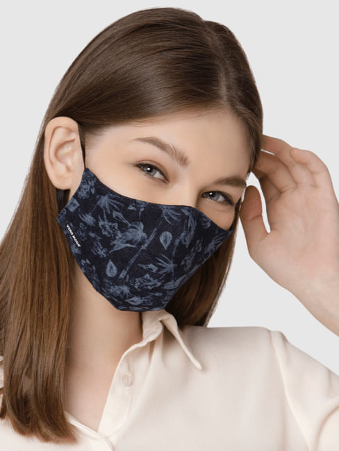 Floral Print Lightweight Denim 3PLY Anti-Bacterial Mask