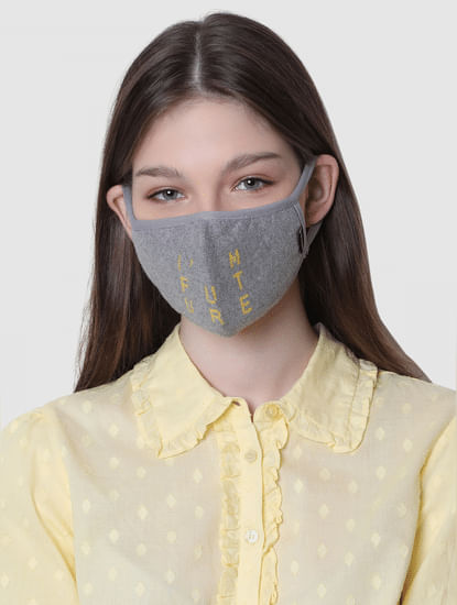 Pack of 2 Jacquard Knit 3PLY Anti-Bacterial Mask-Grey