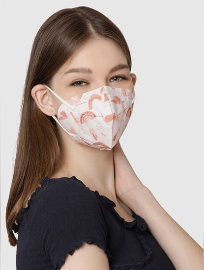 Pack of 3 N95 5PLY Anti-Bacterial Mask-Pink, White & Yellow