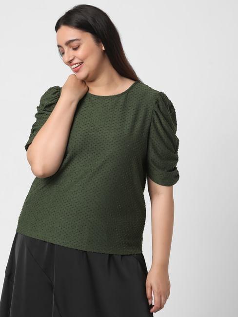 Dark Green Textured Polka Dot Top