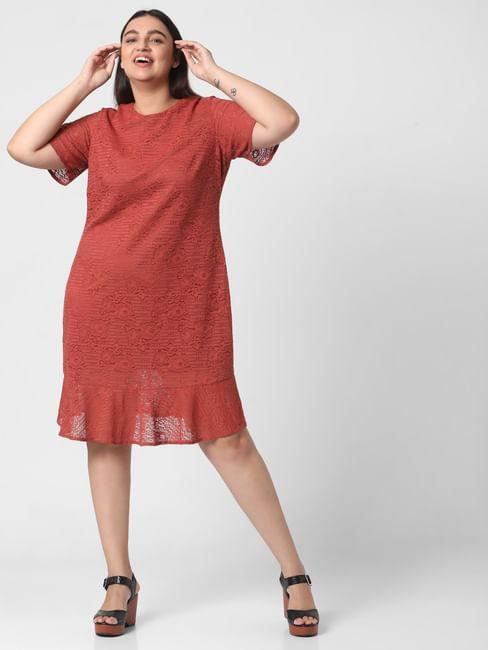 Rust Lace Shift Dress