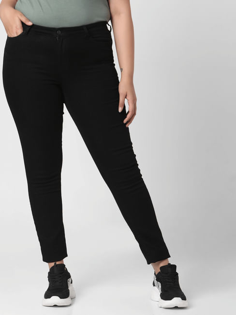 Black Mid Rise Slim Fit Jeggings