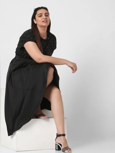 Black High Waist Asymmetrical Skirt