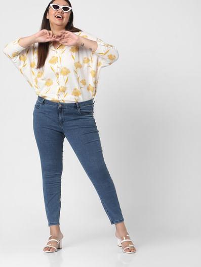 Beige Floral Cotton Shirt