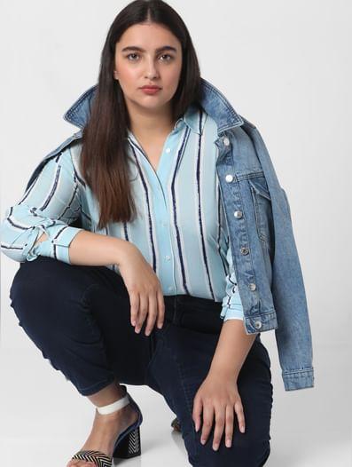 Light Blue Striped Tunic Shirt