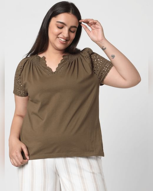 Olive Green Schiffli Top