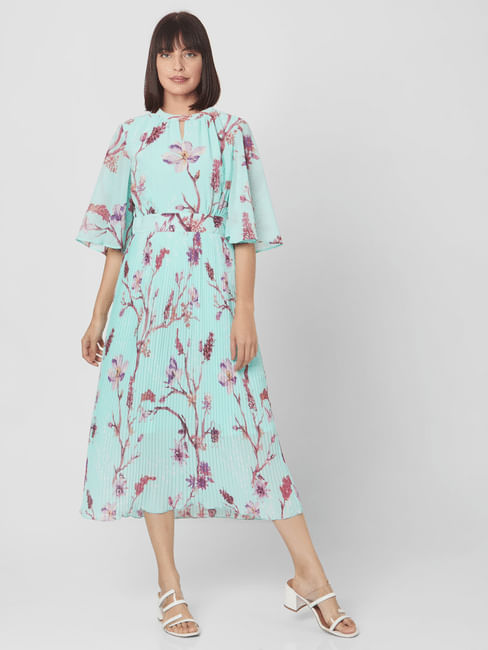 Green Floral Pleated Midi Dress