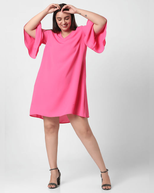 Pink Flared Sleeves Shift Dress