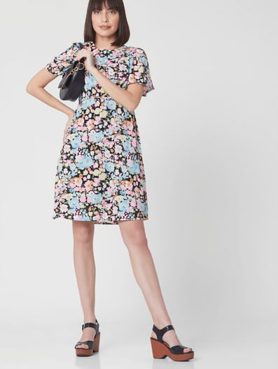 Multi-coloured Floral Fit & Flare Dress