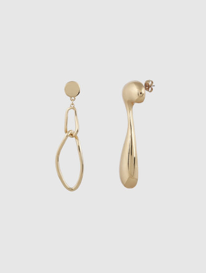 Gold Colour Mismatch Drop Earrings