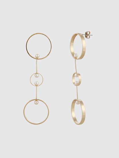 Gold Colour Hoop Drop Earrings