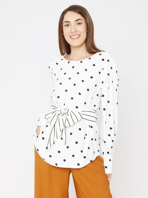 White Polka Dot Print Knot Detail Top