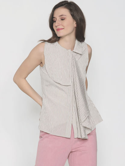 Beige Striped Drape Shirt