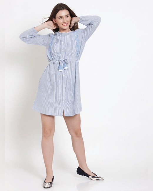 Blue Striped Embroidered Shirt Dress