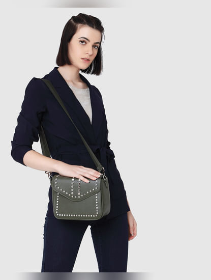 Dark Green Studded Sling Bag