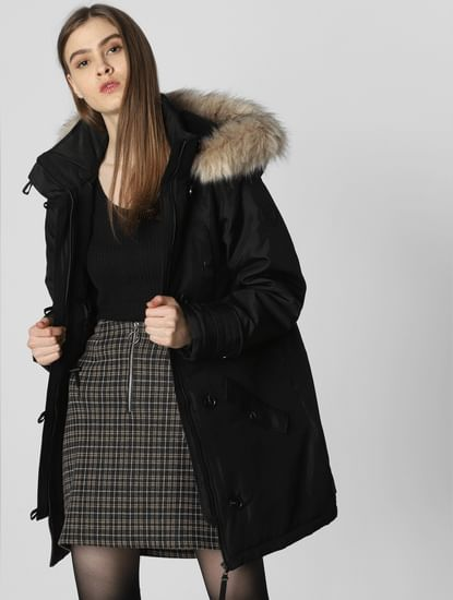 Black Fur Hood Parka Coat