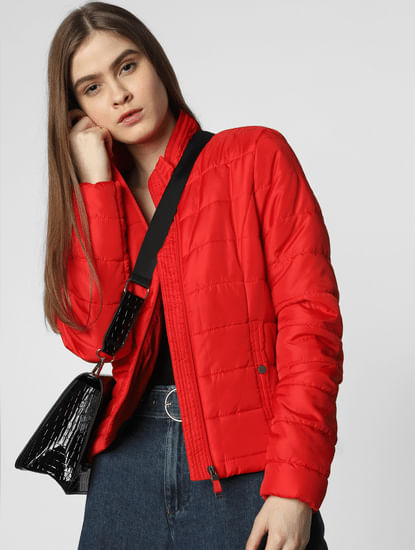 Red Tape Detail Puffer Jacket