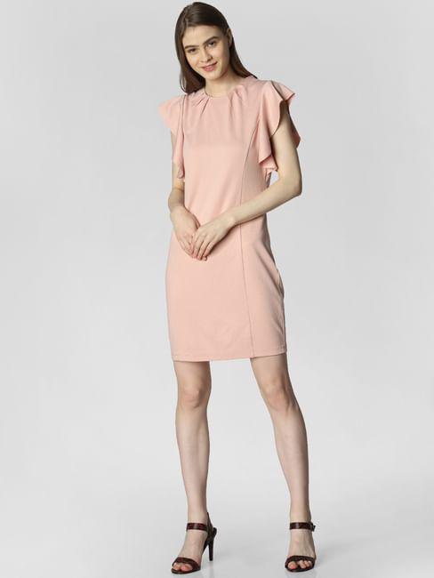 Pink Ruffle Sleeves Mini Dress
